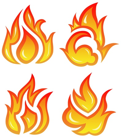 fireballs: Vector set: fire flames - collage