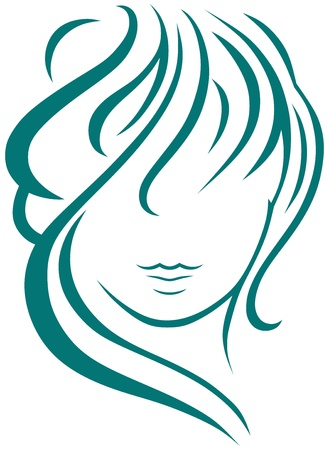 Beautiful woman with long hair Vector