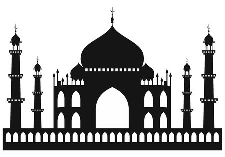 hindi: Taj-mahal tempio silhouette. Vettore