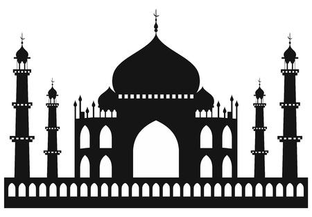 mahal: Taj-mahal temple silhouette. Vector