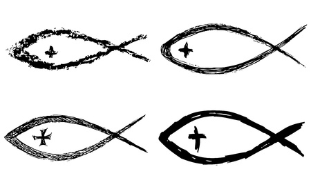 christian symbol: Christian fish symbol with cross. Vector Illustration