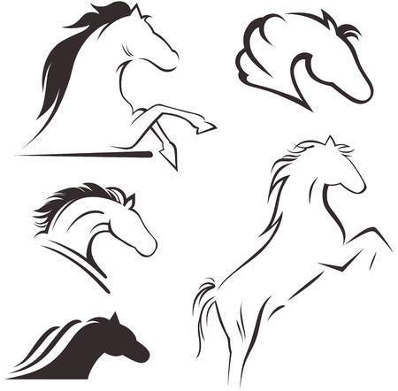 horse racing: Silhouette black horse Illustration