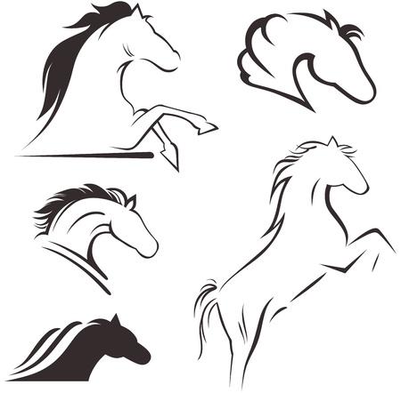caballos corriendo: Silueta caballo negro