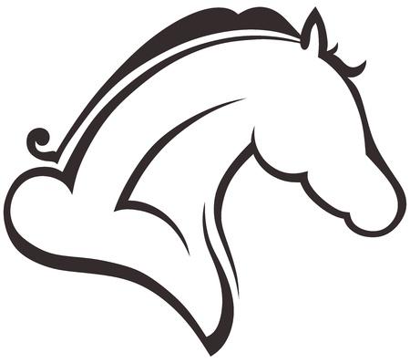 snaffle: Silhouette black horse Illustration