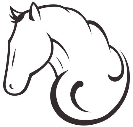 bridle: Silhouette black horse Illustration