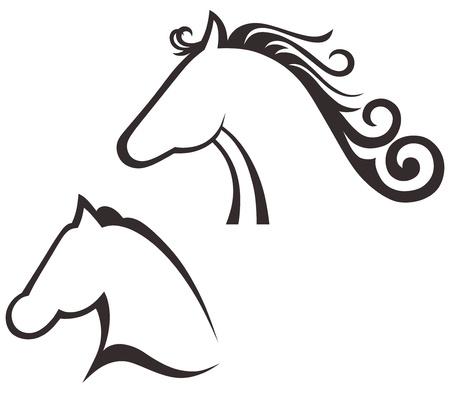 equine: Silhouette black horse Illustration