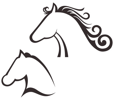 merrie: Silhouette zwart paard