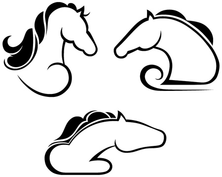 Silhouette black horse Vector