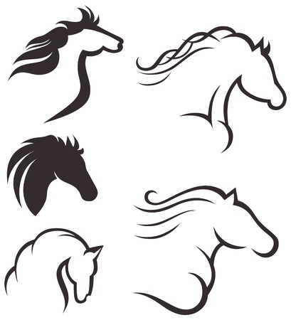 Silhouette black horse Stock Vector - 15795480