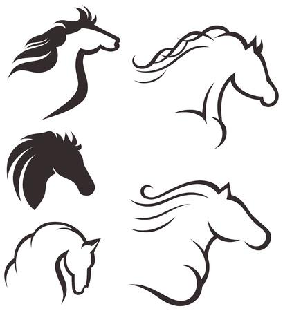 Silhouette black horse Stock Vector - 15795480