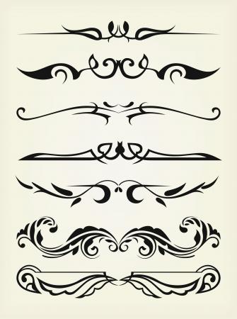 calligraphique: Vector set: �l�ments de conception et de d�coration calligraphiques page - �l�ments beaucoup pour embellir votre mise en page Illustration