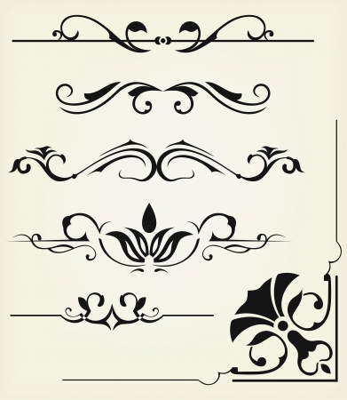 scroll border: Vector set: calligraphic design elements and page decoration - lots elements to embellish your layout