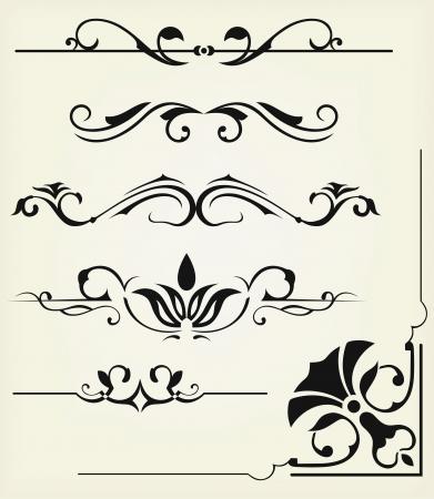 filigree: Vector set: kalligrafische ontwerpelementen en pagina decoratie - veel elementen aan uw lay-out te verfraaien Stock Illustratie