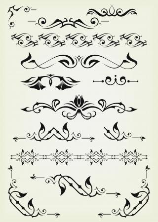 calligraphie chinoise: Vector set: �l�ments de conception et de d�coration calligraphiques page - �l�ments beaucoup pour embellir votre mise en page Illustration