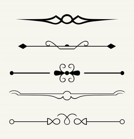 règle: Vector set: �l�ments de conception et de d�coration calligraphiques page - �l�ments beaucoup pour embellir votre mise en page Illustration