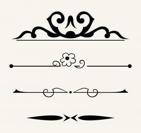 grecas: Vector set: elementos caligráficos del diseño y la decoración de página - Elementos mucho para embellecer su diseño Vectores