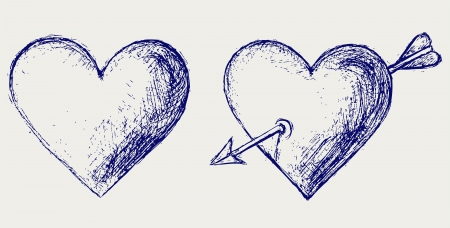 Sketch pencil. Heart Vector
