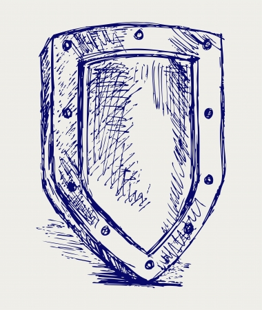 Sketch pencil. Shield Vector