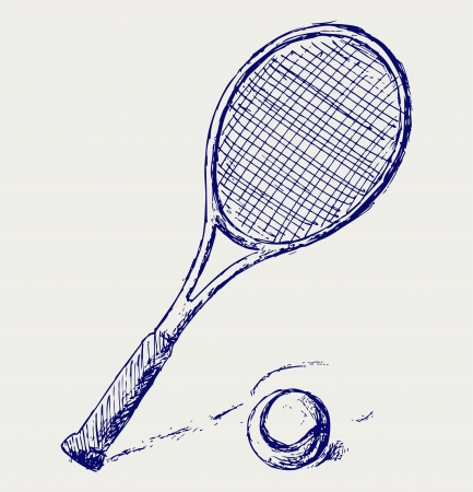tennis net: A tennis racket and ball
