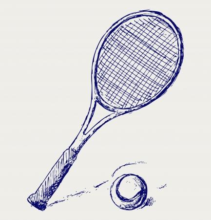 raqueta de tenis: Una raqueta de tenis y pelota Vectores