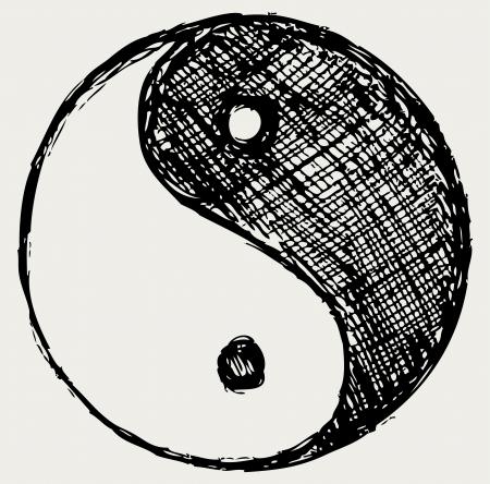 yuan yang: Ying yang sketch symbol Illustration