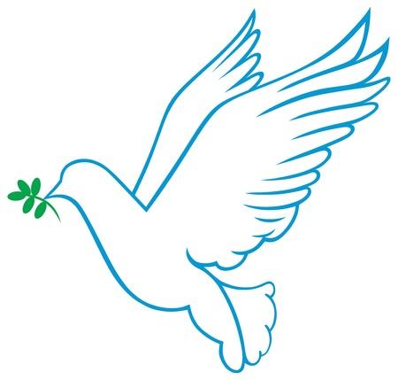 outline bird:  dove symbol