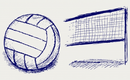 beach volleyball: Sketch volleyball