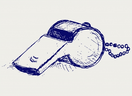 Sports whistle with pea Illustration