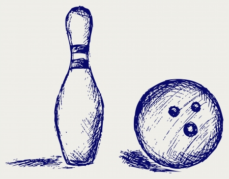 ball pen: Sketch bowling Illustration
