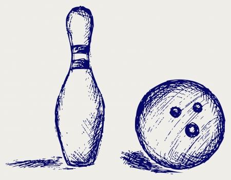 ball pen: Sketch bowling Illustration