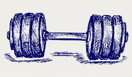 hand with dumbbell: Sketch dumbbell weight