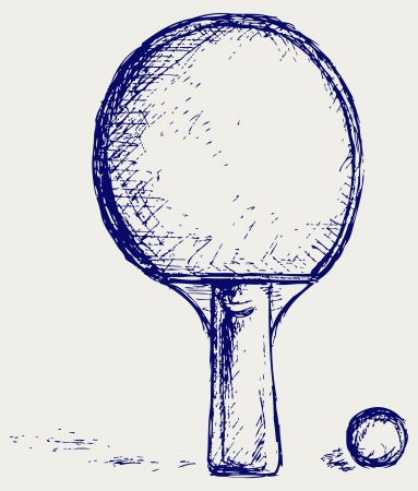ball pen: Sketch table tennis Illustration