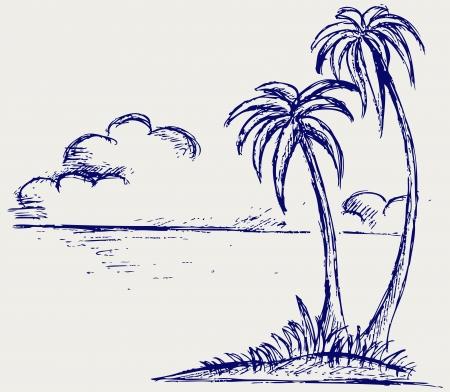 simple line drawing: Island palm