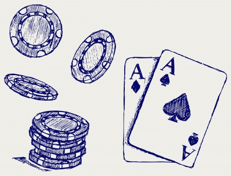 poker hand: Gambling. Sketch Illustration