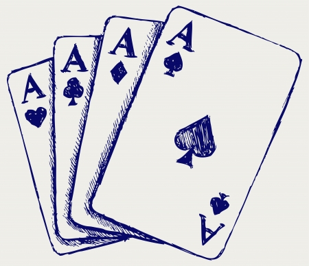 cards poker: Gambling. Sketch Illustration