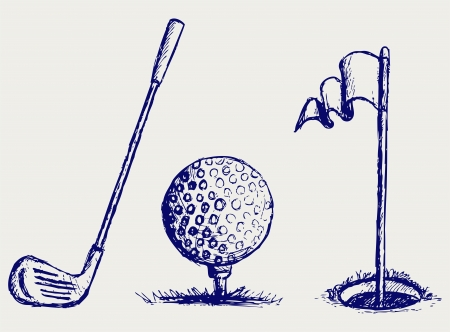 grass line: Golf icon set Illustration