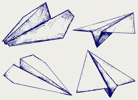 avion caricatura: Aviones de papel. Bosquejo Vectores