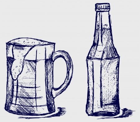 Mug and bottle beer. Sketch Vector