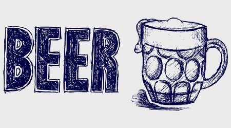 Mug beer. Sketch Vector