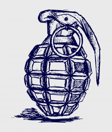 dangerous weapons: Hand grenade. Sketch