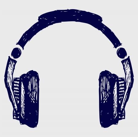 오디오: 헤드폰 스케치 일러스트