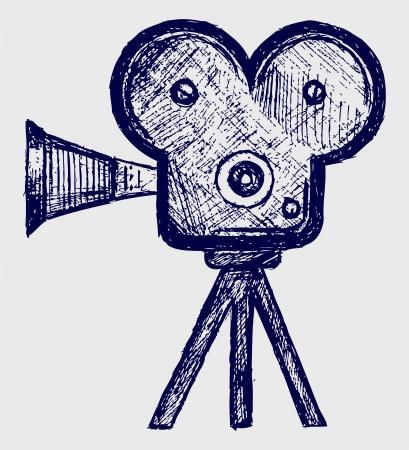 movie camera: Video camera sketch