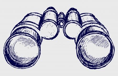 kijker: Verrekijkers schets Stock Illustratie