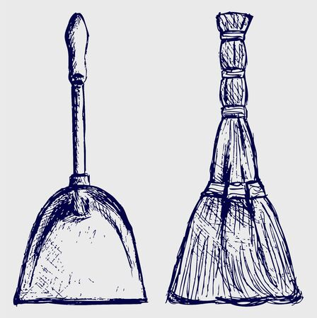 Broom and dustpan Stock Vector - 15832055