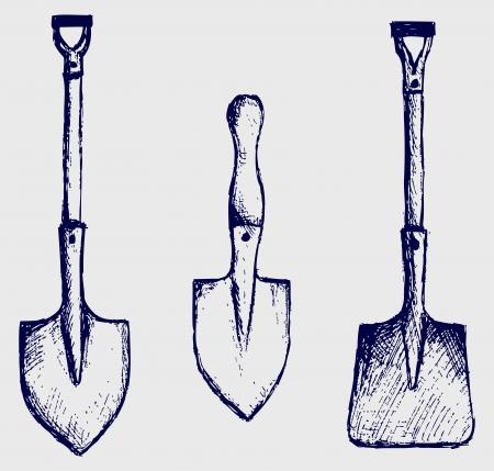 hand shovels: Shovel sketch Illustration