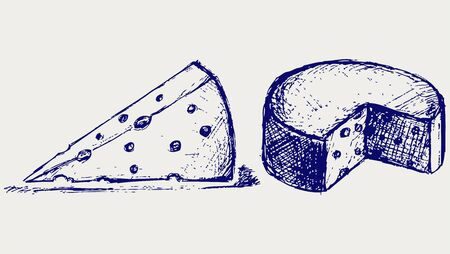 swiss cheese: Piece cheese. Illustration