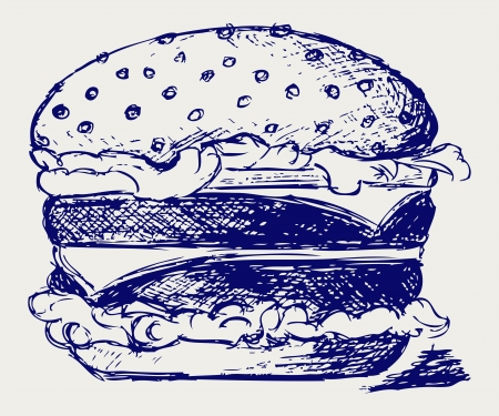 cheddar cheese: Big and tasty hamburger. Illustration