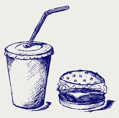 cocacola: Big hamburger and soda.