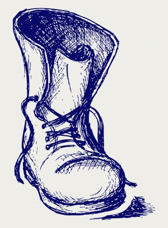 Oude en vuile laarzen. Vector Illustratie