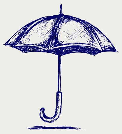 umbrella rain: Umbrella. sketch Illustration